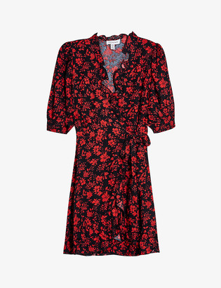 Topshop Floral-print crepe wrap mini dress
