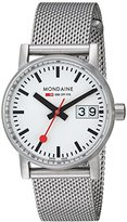 Mondaine evo2 30mm sapphire Big Date Watch with St. Steel brushed Case white Dial and mesh bracelet Strap MSE.30210.SM