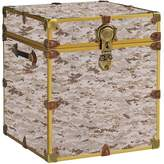 Pottery Barn Teen Canvas Dorm Trunk with Rubbed Brass Trim, Cube, Digit Camo Tan