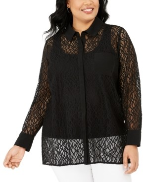 Alfani Plus Size Lace Button-Front Top, Created for Macy's
