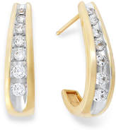 Macy's Channel-Set Diamond J Hoop Earrings in 14k Gold (1/2 ct. t.w.)