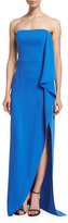 Halston Strapless Draped-Ruffle Gown, Cobalt
