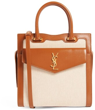 Saint Laurent Canvas and Leather Uptown Tote Bag