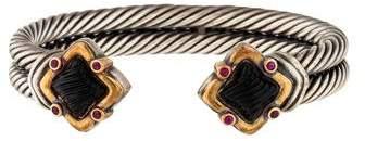David Yurman Carved Onyx & Ruby Double Cable Bracelet