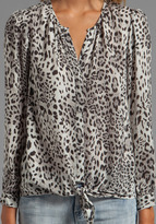 Joie Gradient Leopard Printed Matte Silk Blouse