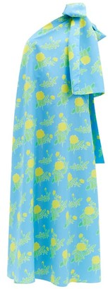 BERNADETTE Winnie Floral-print Bow-shoulder Dress - Blue Multi