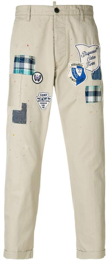 DSQUARED2 patch detail slim-fit trousers