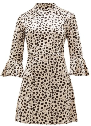 HVN Mini Ashley Leopard-print Velvet Dress - Leopard