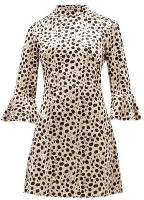 HVN Mini Ashley Leopard-print Velvet Dress - Womens - Leopard