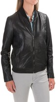 Bod & Christensen Rib-Collar Leather Bomber Jacket (For Women)