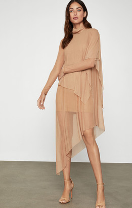 BCBGMAXAZRIA Asymmetrical Turtleneck Midi Dress