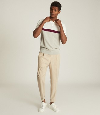 Reiss CHRISTIE COLOUR BLOCK POLO SHIRT Grey Melange