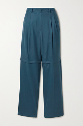 pushBUTTON Convertible Pleated Wool-twill Straight-leg Pants - Teal