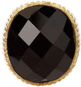 Rivka Friedman 18K Gold Clad Onyx Bold Oval & Ribbed Shank Ring