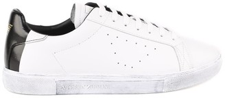 Emporio Armani White Leather Sneaker With Contrasting Back Logo Insert