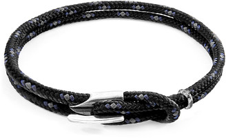 ANCHOR & CREW Black Padstow Silver And Rope Bracelet
