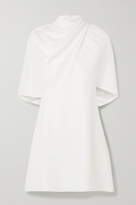 Brandon Maxwell Draped Cape-effect Silk-crepe Mini Dress - Ivory