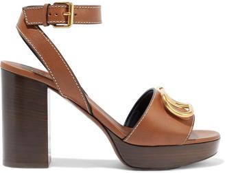 Valentino Go Logo Embellished Leather Platform Sandals