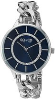 SO&CO New York Women's 5225.2 SoHo Quartz Blue Crystal Accented Dial Stainless Steel Chain-Link Bracelet Watch