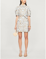 Sandro Orlan embroidered-floral-print crepe dress