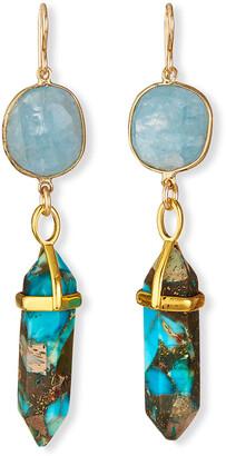 Devon Leigh Imperial Jasper & Aquamarine Drop Earrings