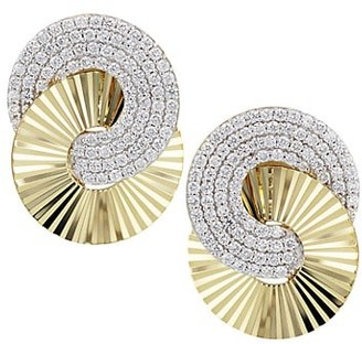 Phillips House Aura Large 14K Yellow Gold & Diamond Pave Interlocking Stud Earrings