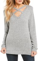 Miss Chievous Cozy Criss-Cross Neck Long-Sleeve Top