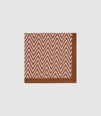 Reiss Perrin - Chevron Pattern Pocket Square in Rust