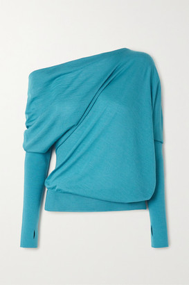 Tom Ford One-shoulder Cashmere And Silk-blend Sweater - Turquoise