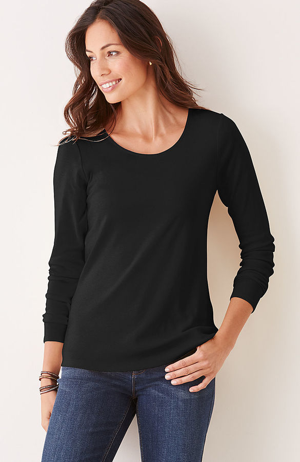 J. Jill Perfect pima cotton long-sleeve delicate scoop-neck tee