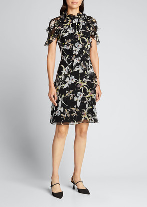 Orchid Print Silk Chiffon Dress w/ Flutter Trim
