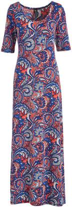 Modern Touch Women's Maxi Dresses Blue - Blue & Red Paisley Half-Sleeve Maxi Dress - Women
