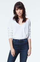 J Brand Long Sleeve V-Neck Tee in White
