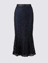 Per Una Cotton Blend Flared Lace Pencil Midi Skirt