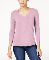 Karen Scott Petite Luxsoft V-Neck Sweater, Only at Macy's