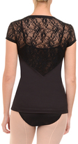 Danskin Rich Black Lace Back Tee - Women