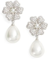Nina Women's Imitation Pearl & Crystal Drop Earrings