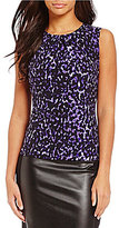 Calvin Klein Petites Pleat Neck Abstract Animal Print Matte Jersey Shell