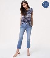 LOFT Modern Destructed Straight Crop Jeans in Light Indigo Wash