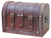 Quickway Imports Antique Style Wood And Leather Trunk With Round Top