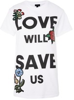 Topshop Love Will Save Us Applique T-Shirt