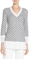 St. John Pointelle Knit V-Neck Sweater