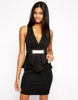 Lipsy Deep V Ruffle Body-Conscious Dress With Metal Plate