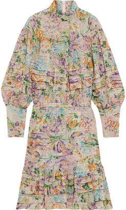 Zimmermann Ninety-six Pintucked Floral-print Crepe Mini Dress