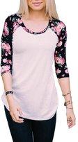 KufvWomens Prints Florals 3/4 Sleeve Crew Neck Top Tshirt (M, )