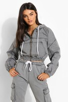 Thumbnail for your product : boohoo Cropped Denim Zip Through Hooded Jacket