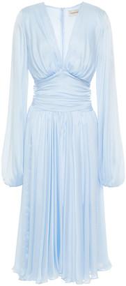 Alexandre Vauthier Gathered Silk Crepe De Chine Midi Dress