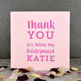 Pink and Turquoise Bridesmaid Thank You Card