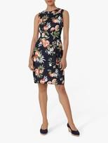 Hobbs Linen Amalfi Floral Print Mini Dress, Navy/Multi
