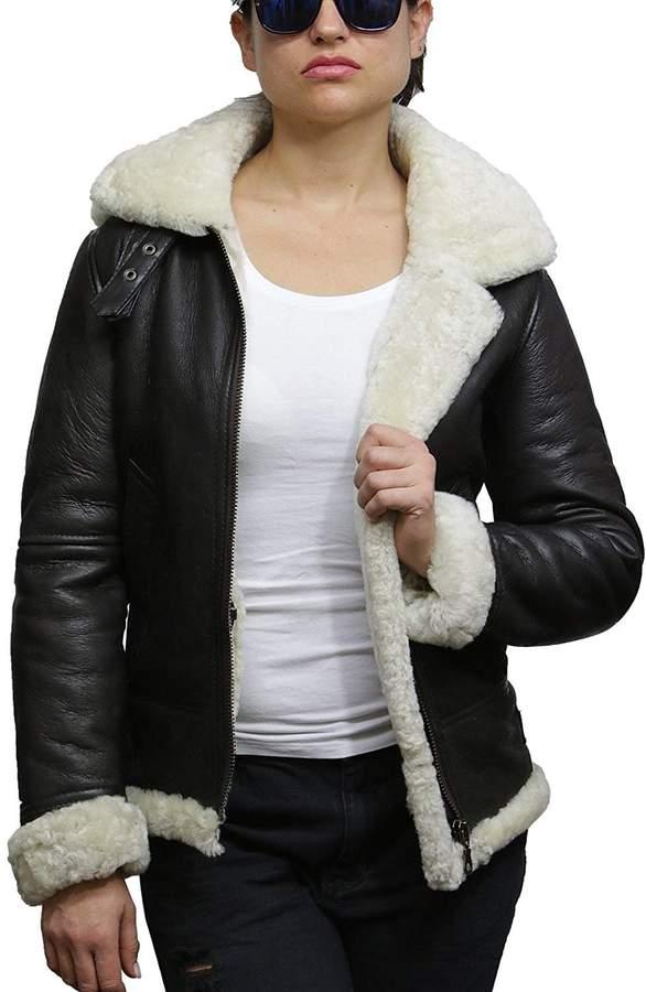 e8ebca746 ABSY Ladies Women's Hooded Aviator Real Shearling Sheepskin Flying Leather  Jacket Coat